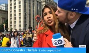Colombian reporter Julieth Gonzalez Theran was kissed and groped while she was live on camera.