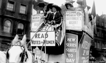 The Women's Social and Political Union (WSPU) on a horse-drawn carriage driven by Emmeline Pankhurst - file photo from 1910, PA wire.