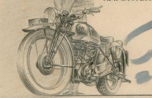 lead pencil sketch of a motorbike