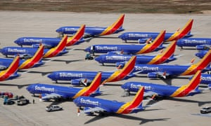 A number of grounded Southwest Airlines Boeing 737 MAX 8 aircraft are shown in Victorville, California.
