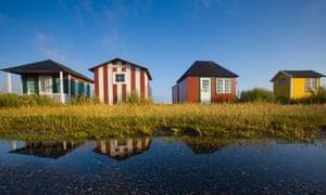 Colourful beach huts at Ærøskøbing, Ærø island, Denmark.