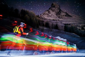 Time-lapse photo of skiers in Stafel, Switzerland