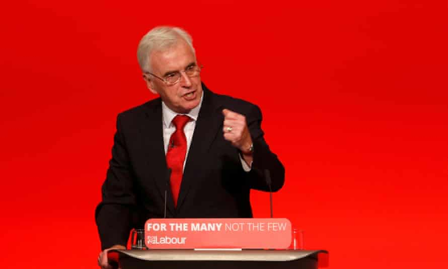 John McDonnell addressing the Labour party's annual conference in Brighton.