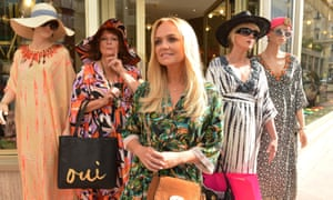 Saunders and Lumley with Emma Bunton, one of the film's many celebrity cameos.