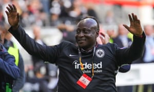 Tony Yeboah in 2019, greeting fans before Eintracht Frankfurt played Arsenal in the Europa League