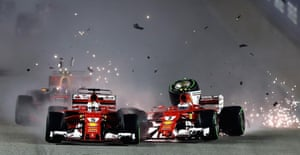 Vettel and Raikkonen collide.