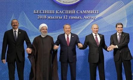 At the Caspian Summit. From left: the presidents of Azerbaijan, Iran, Kazakhstan, Russia and Turkmenistan .