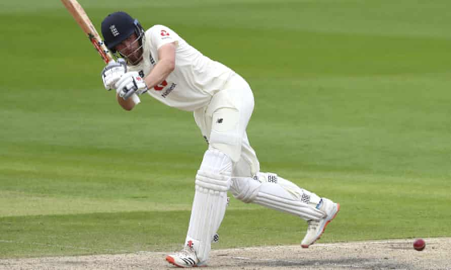 Dom Sibley bats during the second day of England's second Test against West Indies.