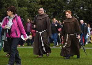 Pilgrims arrive at Phoenix Park, Dublin