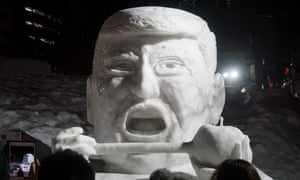 A statue of Donald Trump at the Sapporo snow festival in Japan.