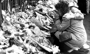 Tributes at Hillsborough in April 1989.