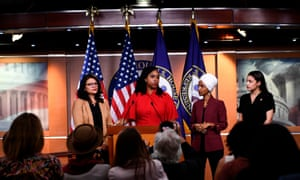 Representatives Ayanna Pressley speaks as, Ilhan Omar, Rashida Tlaib and Alexandria Ocasio-Cortez look on during a press conference.