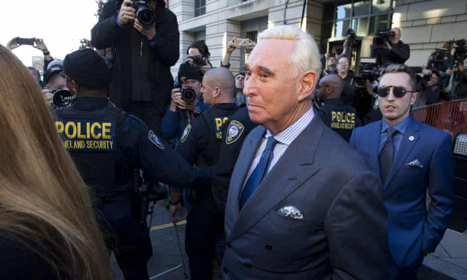 Roger Stone, the former campaign adviser for Donald Trump, leaves federal court Thursday.