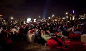 Rooftop screening in downtown Johannesburg.