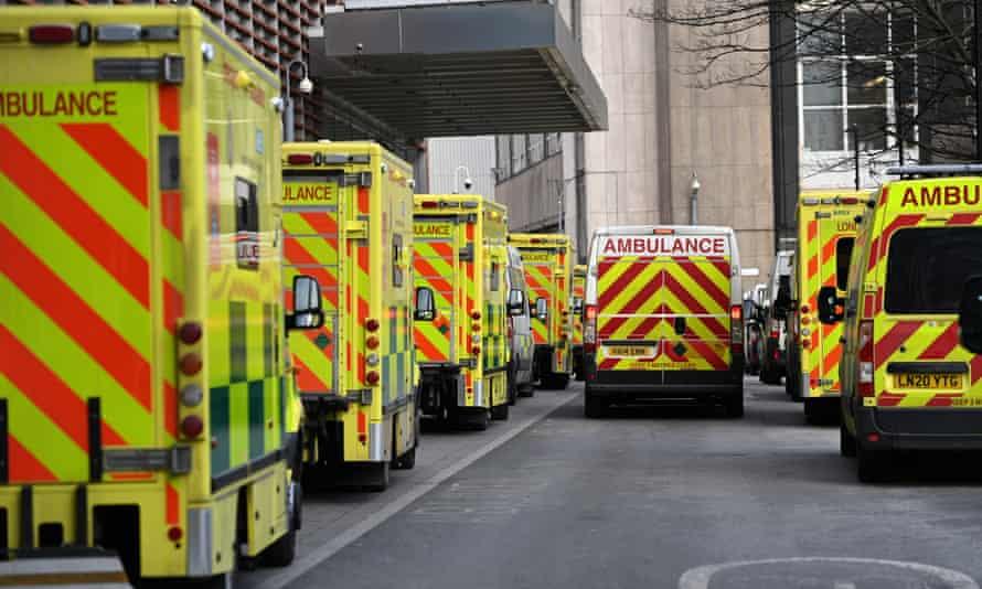 Ambulances outside the Royal London hospital, 13 February 2021.