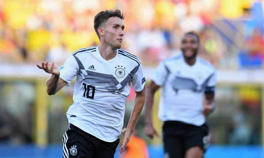 Luca Waldschmidt celebrates after putting Germany ahead in stoppage time.