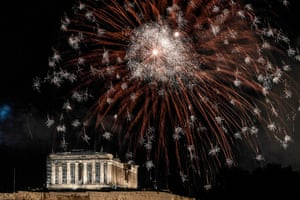 Fireworks explode over the Acropolis in Athens, Greece