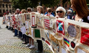 The Peterloo Memorial Campaign Group unveil their Peterloo Tapestry in Albert Square