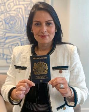 Priti Patel with the new 'iconic' blue passport.