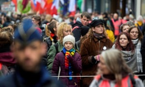 Greta Thunberg leads a climate march in Brussels, Belgium, on 6 March