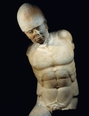 Marble statue of warrior from Akragas, Sicily, c470BC.