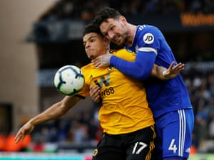 Cardiff City's Sean Morrison gets to grips with Wolves Morgan Gibbs-White as Wolves win 2-0 at Molineux. Wolves have lost just one of their past seven matches in the Premier League (W4 D2).