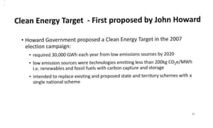 Page 21 of presentation by Josh Frydenberg to the Coalition party room on the Finkel review