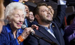 Democratic National Convention, Philadelphia, USA - 26 Jul 2016Mandatory Credit: Photo by ddp USA/REX/Shutterstock (5790269p) Jerry Emmett, the 102-year-old honorary chair of the Arizona Democratic delegation, and delegate Rep. Ruben Gallego of Arizona cheer for Hillary Clinton at roll call during the 2016 Democratic National Convention at Wells Fargo Arena Democratic National Convention, Philadelphia, USA - 26 Jul 2016