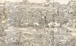 Illustration of Jerusalem by Erhard Reuwich in Bernhard von Breydenbach's Peregrinatio in Terram Sanctam.