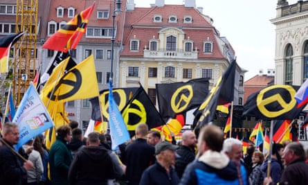 The far-right, anti-Islam Pegida movement celebrates its fourth anniversary with a rally of several thousands in Dresden, Germany