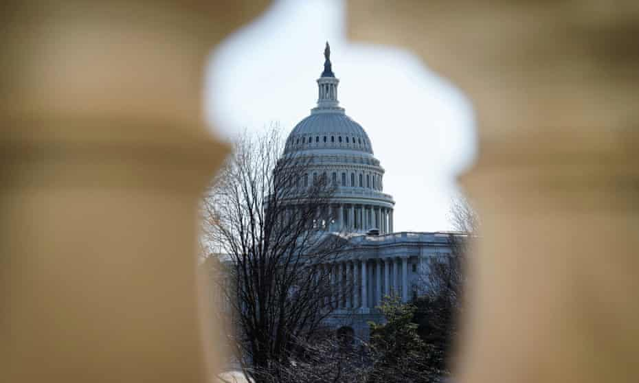 The US Capitol building is seen from the Russell Senate Office Building.