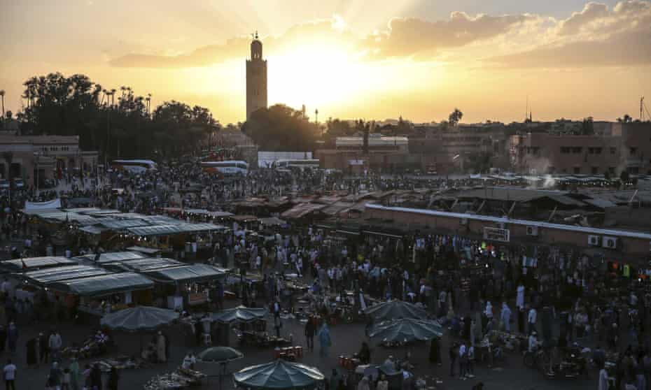 Jemaa el-Fnaa square in Marrakech, Morocco, where global leaders are meeting for the 22nd UN climate summit (Cop22).