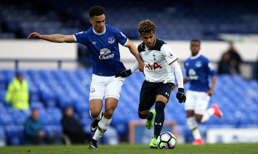 Marcus Edwards, right, in action for Tottenham against Everton in a Premier League 2 match in April, has the nickname Mini Messi.