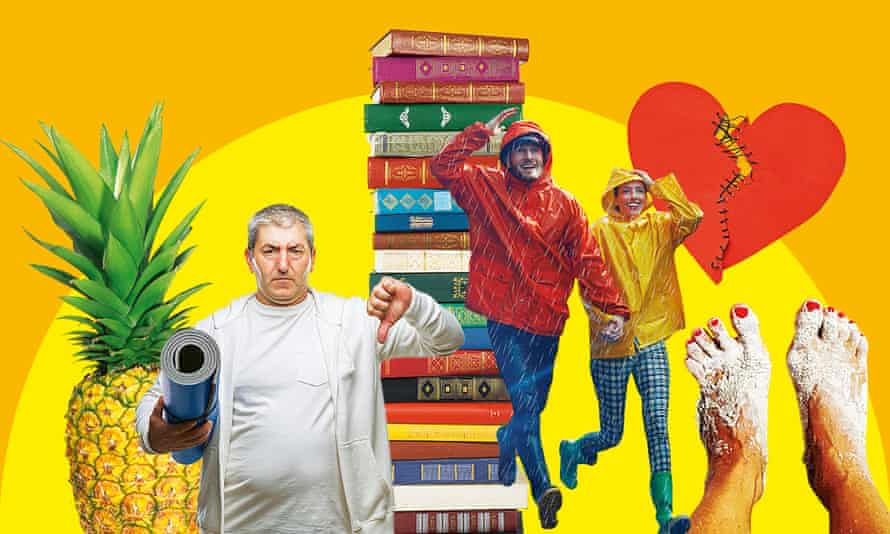 Montage of pineapple, man with yoga mat, pile of books, couple in raincoats, red heart and sandy feet