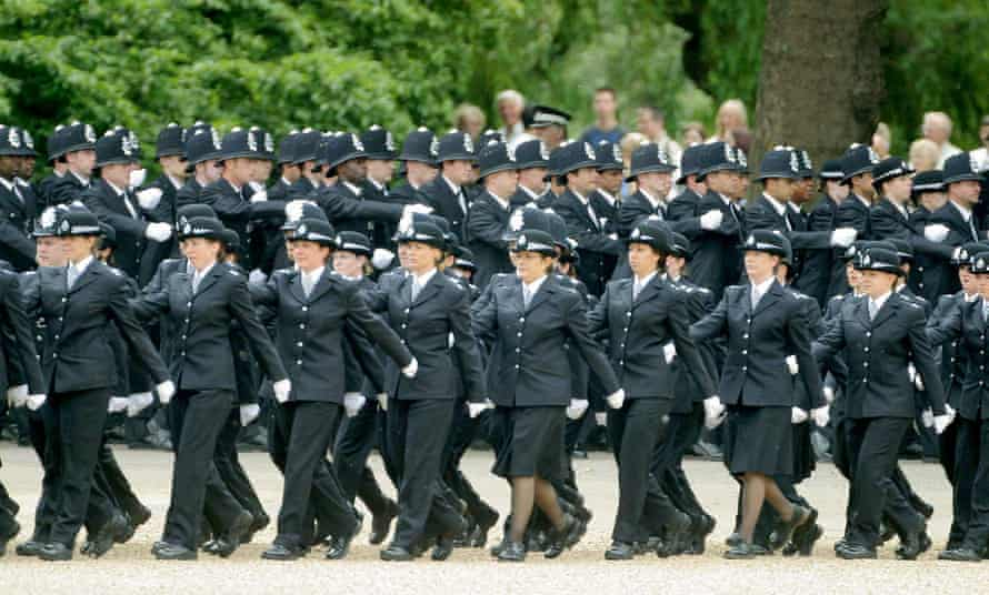 Police marching in formation