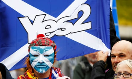 Scottish independence supporters outside the SNP conference in Glasgow at the weekend.