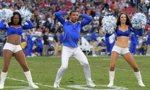 Quinton Peron is one of two male cheerleaders for the Los Angeles Rams who joined the team in March.