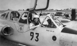 Jan van Risseghem at the controls of an Avikat Fouga jet.