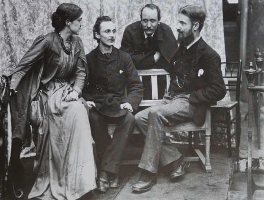 May Morris, Henry Halliday Sparling, Emery Walker and George Bernard Shaw. Hammersmith Terrace, London, 3 February 1889.