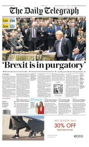 Daily Telegraph front page 23.10.19