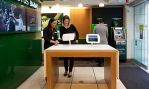 Interiors of a micro-branch of Lloyds Bank