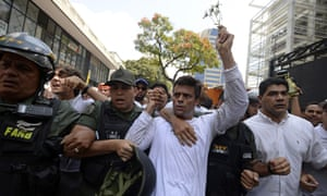 Leopoldo López, seen here in 2014, has been transferred to house arrest, with Venezuela's supreme court citing 'humanitarian measures'.