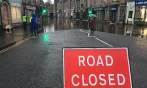 A flooded street in Matlock, Derbyshire, on 8 November.