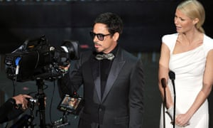 Robert Downey Jr and Gwyneth Paltrow at the 2012 Oscars.