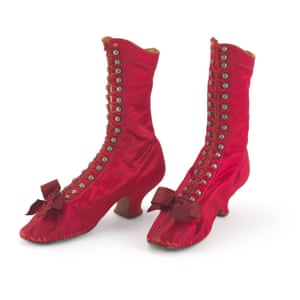 Women's satin boots 1870s-80s. 'Only rebellious women wore scarlet-colored shoes.'
