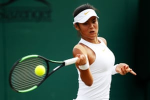 Raducanu is pictured playing a forehand in her girls' singles first round match at Wimbledon in 2018