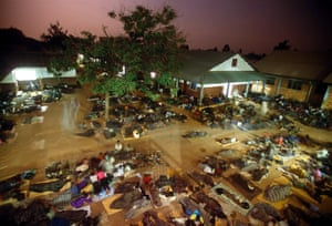Night commuters settling down to sleep at St Mary's Hospital, Lacor, near Gulu