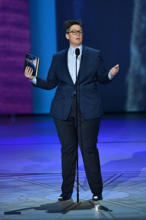 Hannah Gadsby with her Emmy for her disarmingly honest Netflix special Nanette