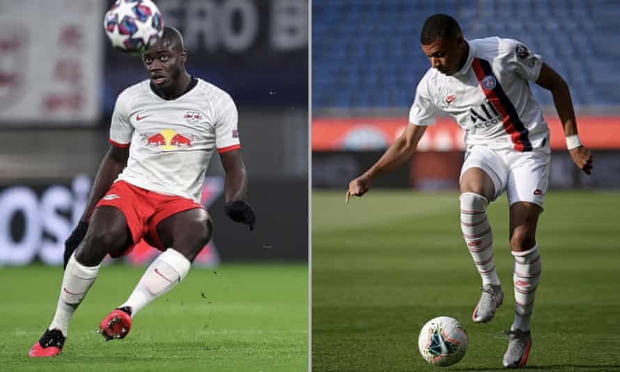 Leipzig's French defender Dayot Upamecano and Paris Saint-Germain's forward Kylian Mbappé.