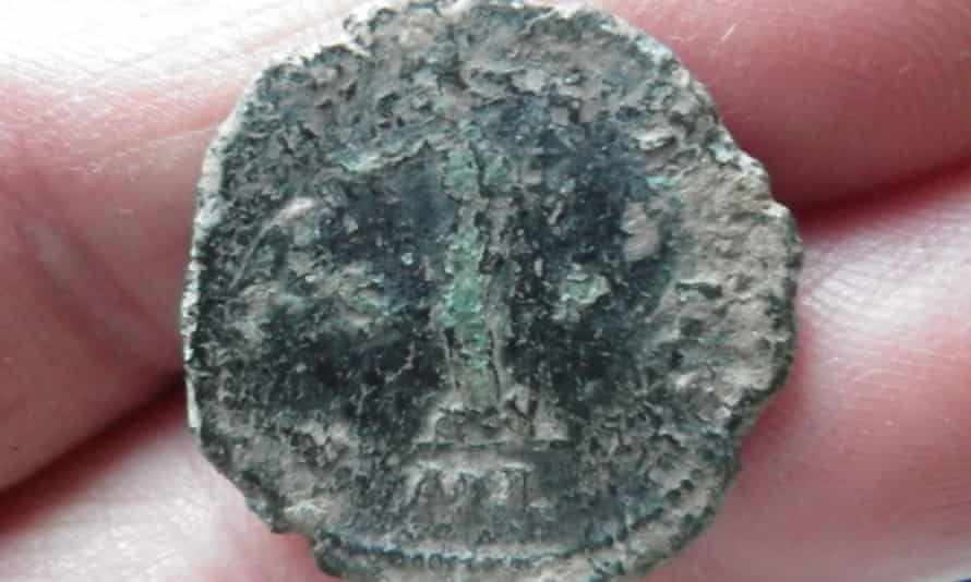 A Roman Britain coin, known as a radiate, found in Headbourne Worthy in Hampshire.